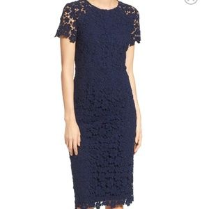Shoshana Navy Beaux Guipure Lace Sheath Dress